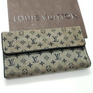 Louis Vuitton Mini Lin Sarah Blue Wallet